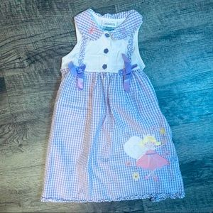 Youngland Purple White Gingham Embroidered Dress